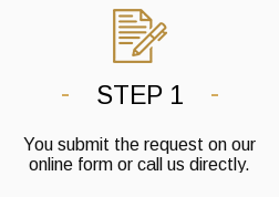 Step 1. You submit the request on our online form or call us directly.