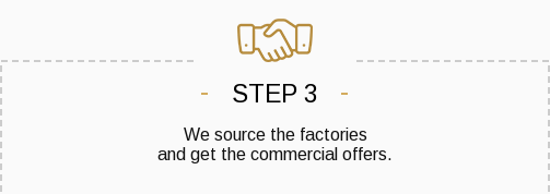 Step 3. We source the factories and get the commercial offers.