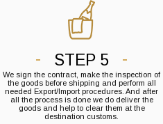 Step 5. We sign the contract, make the inspection of the goods before shipping and perform all needed Export/Import procedures. And after all the process is done we do deliver the goods and help to clear them at the destination customs.