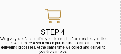 Step 4. We give you a full set offer: you choose the factories that you like and we prepare a solution on purchasing, controlling and delivering processes. At the same time we collect and deliver to you the samples.